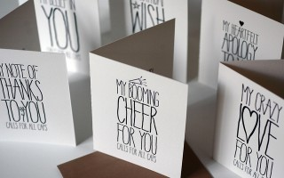 ALL CAPS Letterpress Cards - Sky of Blue Cards - $4.50 each