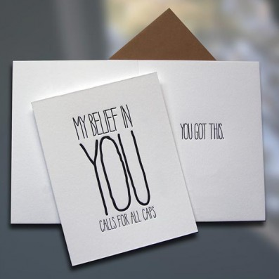 Belief ALL CAPS Letterpress Card – Sky of Blue Cards – $4.50