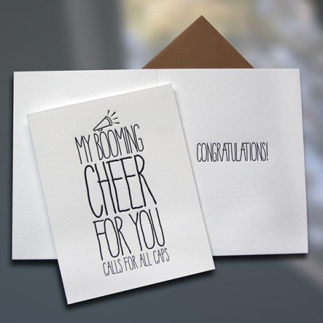 Cheer ALL CAPS Letterpress Card - Sky of Blue Cards - $4.50