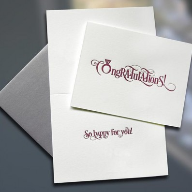 Congratulations! Ring Letterpress Card – Sky of Blue Cards – $4.50