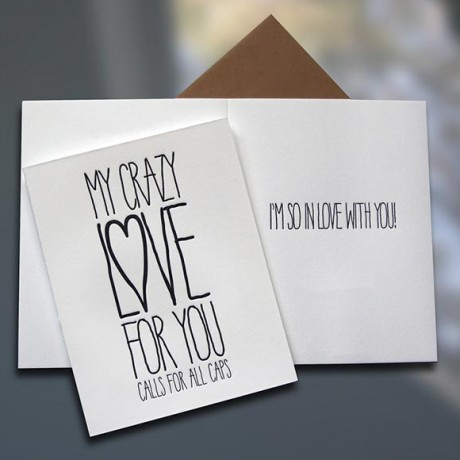 Crazy Love ALL CAPS Letterpress Card - Sky of Blue Cards - $4.50