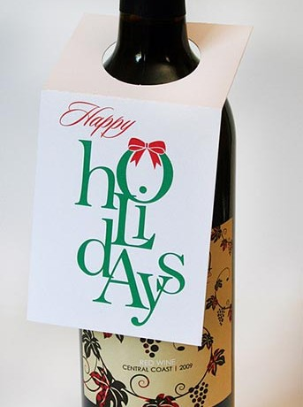 Happy Holidays Wine Bottle Tags - Sky of Blue Cards - $5.00