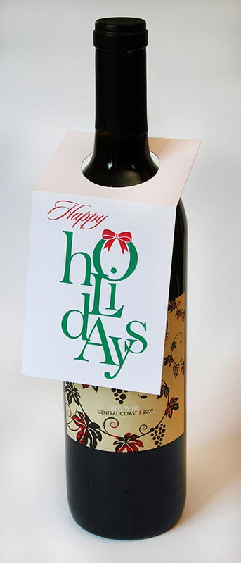 Happy Holidays Wine Bottle Tags – Sky of Blue Cards – $5.00