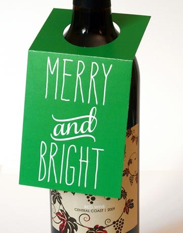 Merry and Bright Wine Bottle Tags - Sky of Blue Cards - $5.00