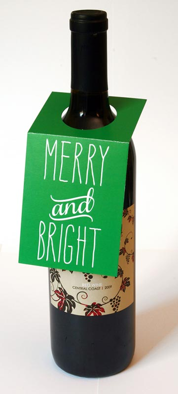 Merry and Bright Wine Bottle Tags – Sky of Blue Cards – $5.00
