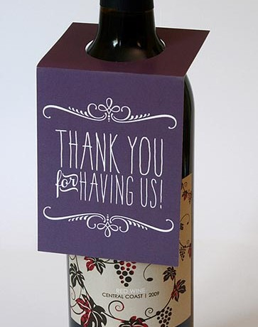 Thank You Wine Bottle Tags - Sky of Blue Cards - $5.00