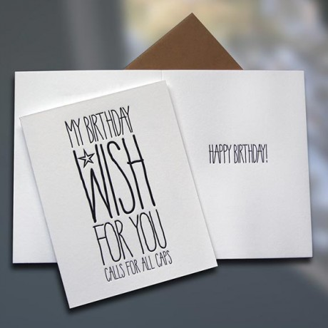 Birthday Wish ALL CAPS Letterpress Card - Sky of Blue Cards - $4.50