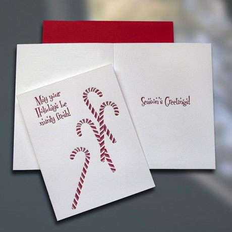 Candy Canes Letterpress Holiday Card - Sky of Blue Cards - $4.50 Single/$18 Boxed Set of 8
