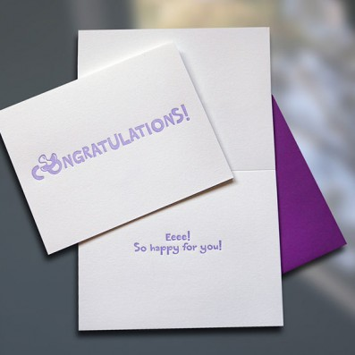 Congratulations Binky Letterpress New Baby Card – Sky of Blue Cards – $4.50
