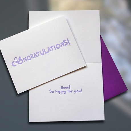 Congratulations Binky Letterpress New Baby Card - Sky of Blue Cards - $4.50
