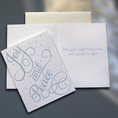 Joy and Peace Letterpress Holiday Card – Sky of Blue Cards -$4.50 Single/$18 Boxed Set of 8
