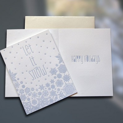 Let It Snow Letterpress Holiday Card – Sky of Blue Cards – $4.50 Single/$18 Boxed Set of 8