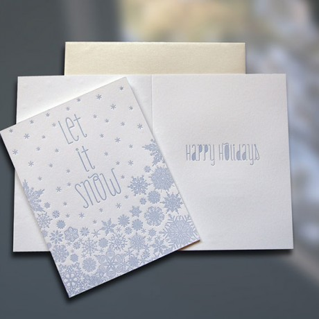 Let It Snow Letterpress Holiday Card - Sky of Blue Cards - $4.50 Single/$18 Boxed Set of 8