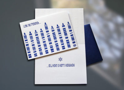 Light the Menorah Letterpress Hanukkah card – Sky of Blue Cards – $4.50 single/$18 Boxed Set of 8