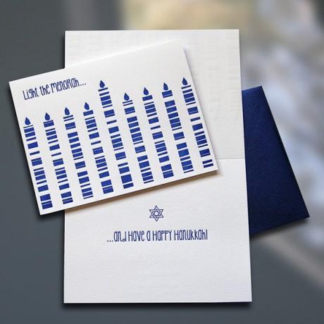 Light the Menorah Letterpress Hanukkah card - Sky of Blue Cards - $4.50 single/$18 Boxed Set of 8