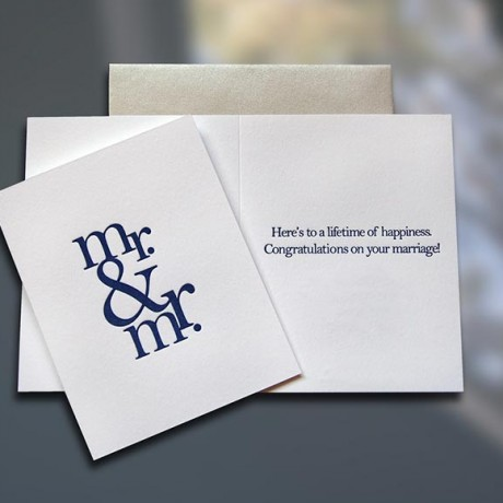 Mr. & Mr. Letterpress Wedding Card - Sky of Blue Cards - $4.50