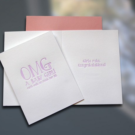 OMG Baby Girl Letterpress New Baby Card - Sky of Blue Cards - $4.50