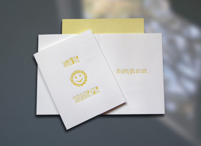 Welcome Sunshine Face Letterpress New Baby Card – Sky of Blue Cards – $4.50