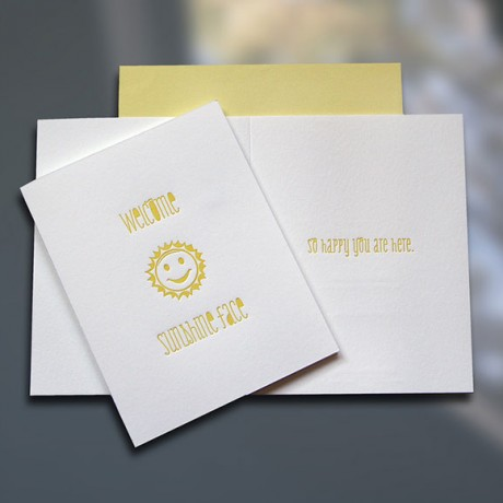 Welcome Sunshine Face Letterpress New Baby Card - Sky of Blue Cards - $4.50