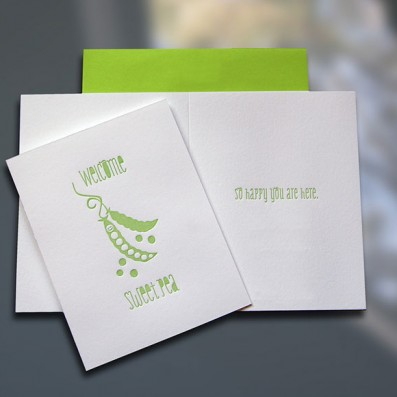 Welcome Sweet Pea Letterpress New Baby Card – Sky of Blue Cards – $4.50