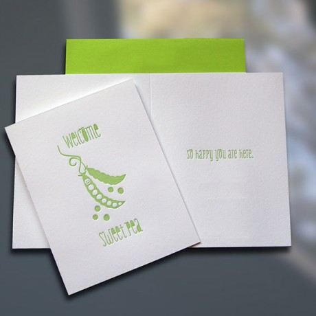 Welcome Sweet Pea Letterpress New Baby Card - Sky of Blue Cards - $4.50