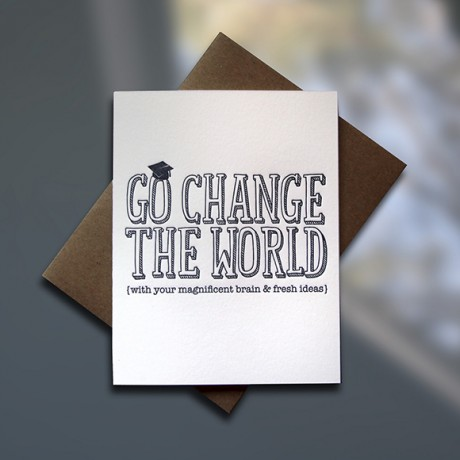 Change the World Letterpress Graduation Card - Sky of Blue Cards - $4.50 single