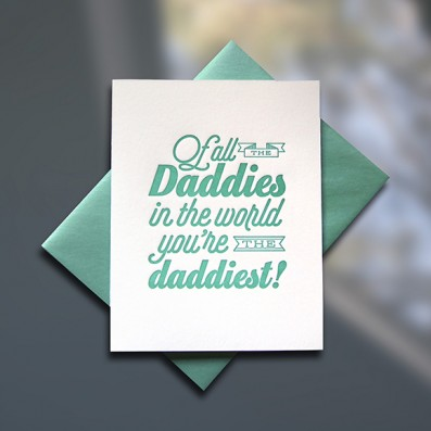 Daddy World Letterpress Father's Day Card – Sky of Blue Cards – $4.50 single