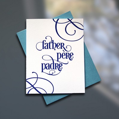 Father-Pere-Padre Letterpress Father's Day Card – Sky of Blue Cards – $4.50 single