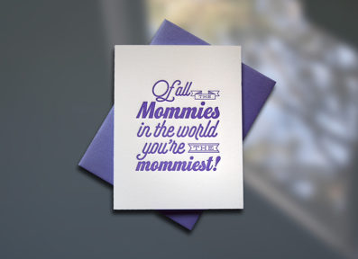 Mommy World Letterpress Mother's Day Card – Sky of Blue Cards – $4.50 single