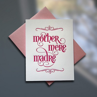 Mother-Mere-Madre Letterpress Mother's Day Card – Sky of Blue Cards – $4.50 single