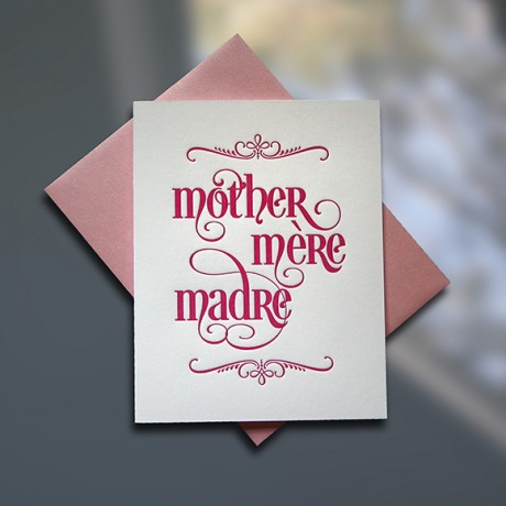 Mother-Mere-Madre Letterpress Mother's Day Card - Sky of Blue Cards - $4.50 single