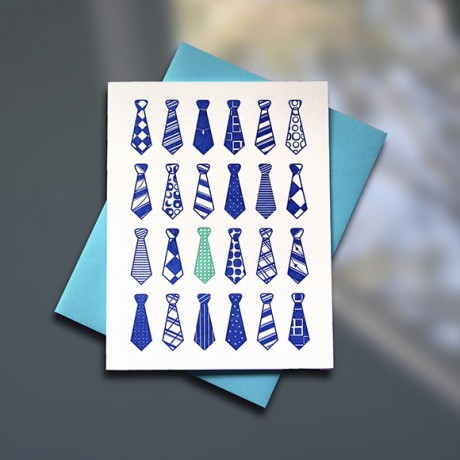Ties Letterpress Father's Day Card - Sky of Blue Cards - $4.50 single