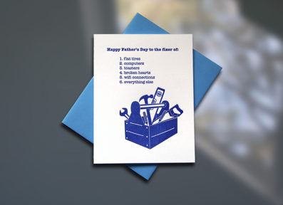 Toolbox Letterpress Father's Day Card – Sky of Blue Cards – $4.50 single