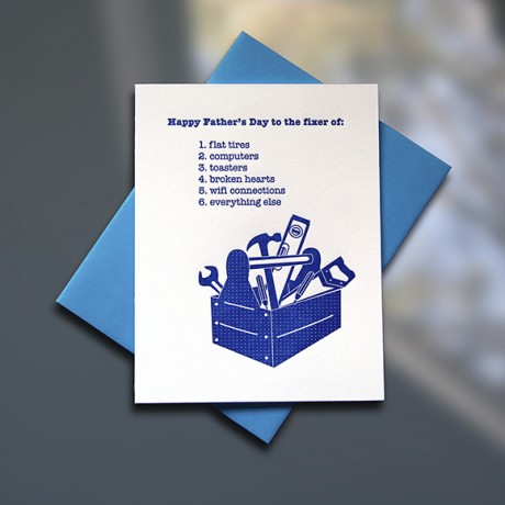 Toolbox Letterpress Father's Day Card - Sky of Blue Cards - $4.50 single