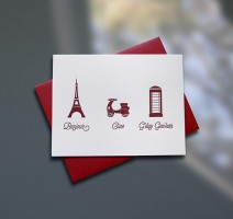 Bonjour-Ciao-G'day Letterpress Note Card - Sky of Blue Cards - $4.50 single, $18 Boxed Set of 8