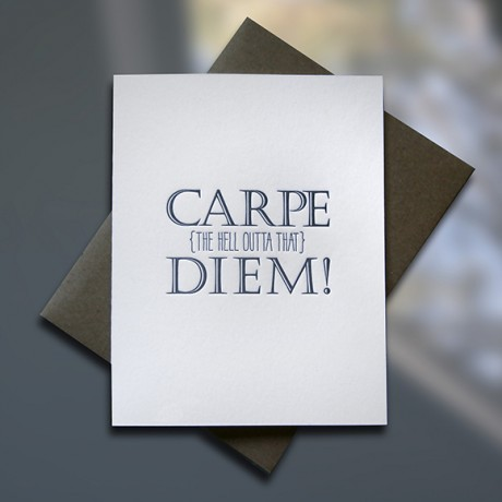 Carpe Diem Letterpress Graduation Card - Sky of Blue Cards - $4.50 single