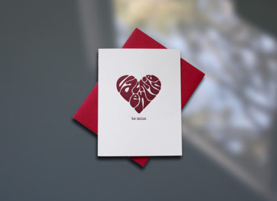 Groovy Heart Letterpress Valentine's Day Card – Sky of Blue Cards – $4.50 single
