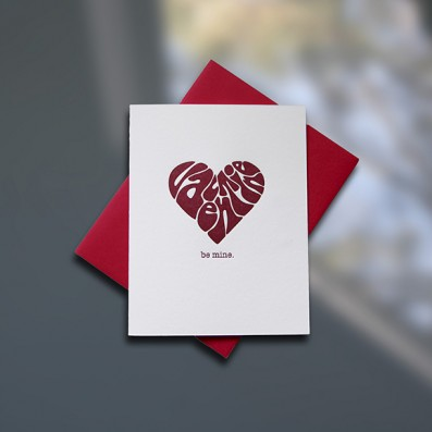 Groovy Heart Letterpress Valentine's Day Card – Sky of Blue Cards – $4.50 single