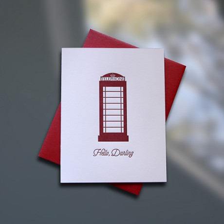 Hello Darling Letterpress Note Card - Sky of Blue Cards - $4.50 single, $18 Boxed Set of 8