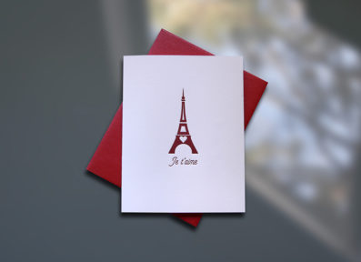 Je t'aime Letterpress Note Card – Sky of Blue Cards – $4.50 single, $18 Boxed Set of 8