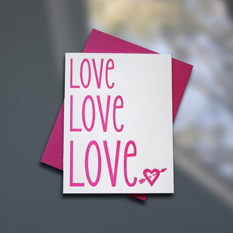 Love Love Love Letterpress Valentine's Day Card - Sky of Blue Cards - $4.50 single