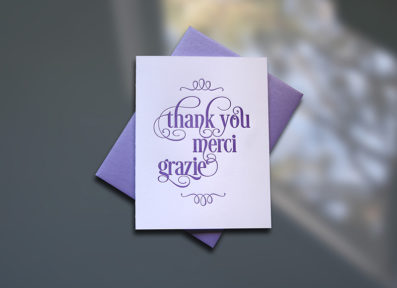 Thank You-Merci-Grazie Letterpress Thank You Card – Sky of Blue Cards – $4.50 single, $18 Boxed Set of 8