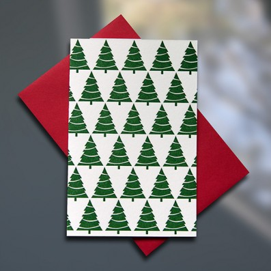 Xmas Tree Pattern Mini letterpress card - Sky of Blue Cards - $3.80 single $15 Boxed Set of 6