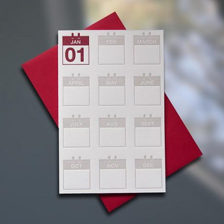 New Year Calendar Mini letterpress card - Sky of Blue Cards - $3.80 single $15 Boxed Set of 6
