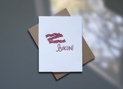 Bacon Letterpress Birthday Card - Sky of Blue Cards - $4.50 single