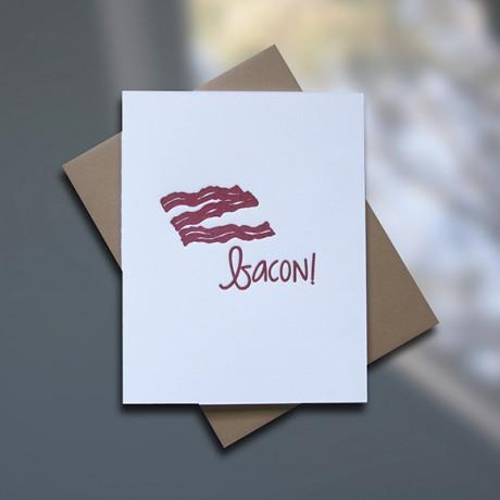 Bacon Letterpress Birthday Card - Sky of Blue Cards - $4.50 single