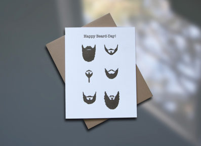 Beards Letterpress Birthday Card - Sky of Blue Cards - $4.50 single