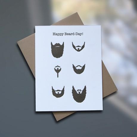 Beards Letterpress Birthday Card - Sky of Blue Cards - $4.50 single