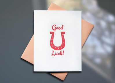 Horse Shoe Letterpress Good Luck Card - Sky of Blue Cards - $4.50 single