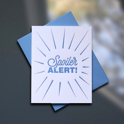 Spoiler Alert Letterpress Encouragement Card - Sky of Blue Cards - $4.50 single